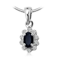 Staviori wisiorek. 10 diamentów, szlif achtkant, masa 0,04 ct., barwa i-l, czystość i2-i3. 1 szafir, masa 0,20 ct.. białe złoto 0,585. wymiary 6,5x8 mm. długość 15 mm.