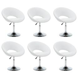 Vidaxl obrotowe krzesła stołowe, 6 szt., białe, sztuczna skóra