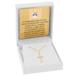 Złoty krzyżyk z jezusem pr. 585 pamiątka chrztu i komunia św. dedykacja niebieska kokardka
