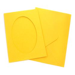 Kartka passe-partout owal - żółty słoneczny - ŻÓŁSŁO