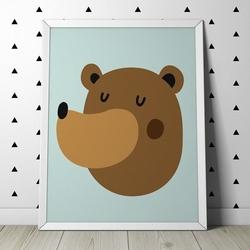 Miś - plakat dla dzieci , wymiary - 70cm x 100cm, kolor ramki - biały