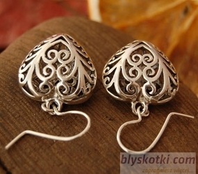 Ażurowe serduszka - srebrne kolczyki