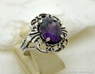 Duży srebrny pierścień z ametystem - san remo