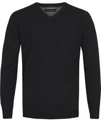 Czarny sweter  pulower v-neck z bawełny  s