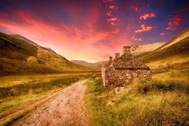 Fototapeta na ścianę różowo fioletowe niebo nad dróżką fp 3632