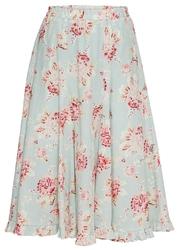 Spódnica w kwiaty bonprix turkusowo-czerwono-różowo-zielony w kwiaty