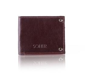 Skórzany cienki portfel wizytownik solier sw21 ciemnobrązowy - ciemny brąz