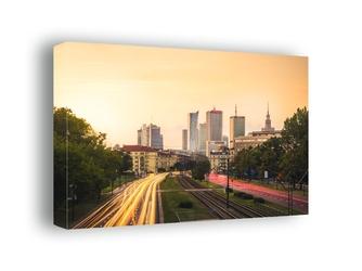 Warszawa centrum w słońcu - obraz na płótnie wymiar do wyboru: 80x60 cm