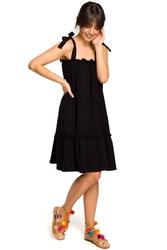 Czarna luźna letnia sukienka wiązana na ramionach