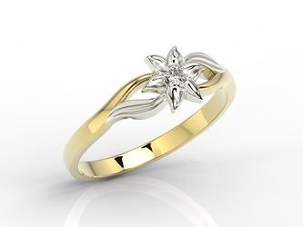 Pierścionek z żółtego i białego złota z diamentem bp-14zb - żółte i białe  diament