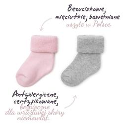 Colorstories skarpetki frotowe 2 pary różowe i szare 3-6 mies. 9-10 cm