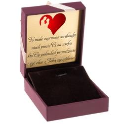 Pudełko na biżuterię bordowe ze złotą tasiemką dedykacja