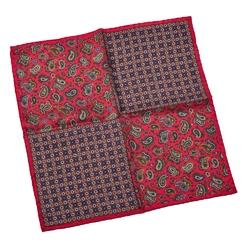 Elegancka czerwona poszetka w dwa różne wzory