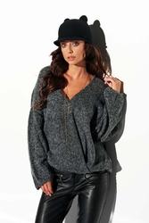 Luźny grafitowy sweter z dekoltem w szpic