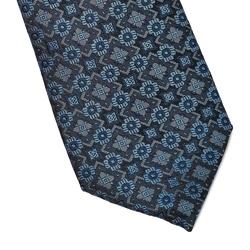 Granatowy krawat jedwabny w jaśniejszy niebieski wzór
