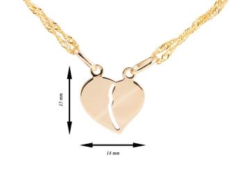 Złoty wisiorek serce łamane pr. 585 grawer