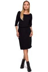 Czarna dzianinowa sukienka z kieszonką