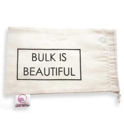 Bag-again, Worek z organicznej bawełny z nadrukiem BULKI IS BEAUTIFUL, 15 x 25 cm