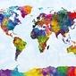 Mapa świata w akwarelach michael tompsett - plakat