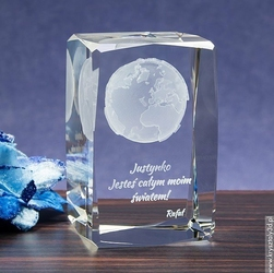 Kula Ziemska 3D ♥ personalizowany kryształ 3D