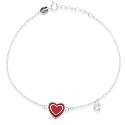 Srebrna bransoletka pr. 925 czerwone serce prezent
