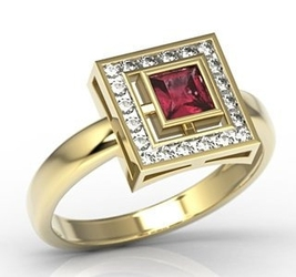 Pierścionek z żółtego złota z rubinem i diamentami lp-68z