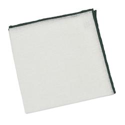 Elegancka biała poszetka lniana z zieloną obwódką