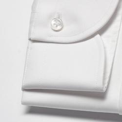 Extra długa biała koszula taliowana z włoskim kołnierzykiem 38