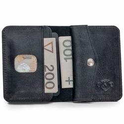 Skórzany cienki portfel męski z bilonówką solier sw16 slim czarny - czarny