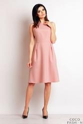 Różowa Sukienka Midi Bez Rękawów