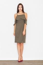 Elegancka oliwkowa sukienka midi z falbanką przy dekolcie
