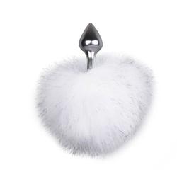 Aluminiowa zatyczka analna z ogonem króliczka srebrny | 100 dyskrecji | bezpieczne zakupy