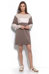Czekoladowa bluza-tunika z panelem z eko-skóry