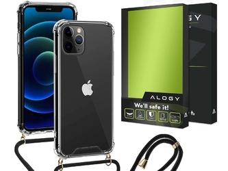 Etui silikonowe crossbody alogy z paskiem do iphone 11 pro max przezroczyste + szkło