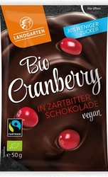 Landgarten | suszona żurawina w gorzkiej czekoladzie | gluten free - organic - fairtrade