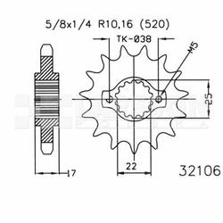 Zębatka przednia JT 50-32106-15, 15Z, rozmiar 520 2201152 Ducati 999