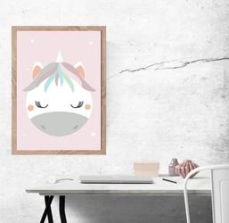 Jednorożec jasnoróżowe tło - plakat wymiar do wyboru: 40x60 cm