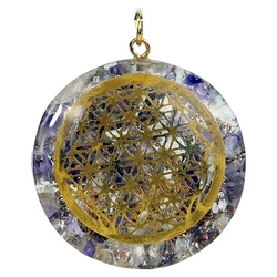 Orgonit - ametyst, kryształ górski i kwiat życia wisior