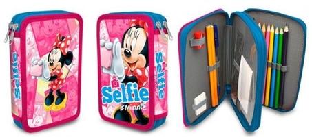 Piórnik podwójny z wyposażeniem myszka mini minnie mouse selfie