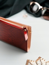 Portfel damski slim wallet czerwony milano design k1208 - czerwony