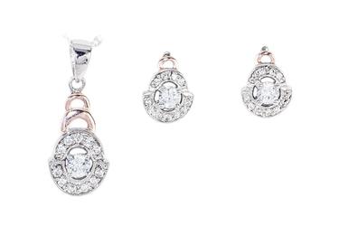 Komplet biżuterii z pozłacanego rodowanego srebra cyrkonia