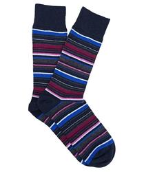 Granatowe skarpetki męskie w kolorowe paski 39-42