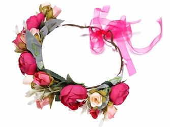 WIANEK ślubny KWIATY piwonie różyczki rose creamy - ROSE