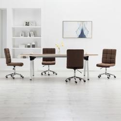 Vidaxl krzesła stołowe, 4 szt., brązowe, tapicerowane tkaniną