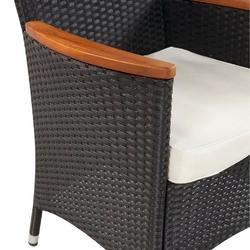 Komplet ogrodowy stół + 4 krzesła polia polirattan czarny