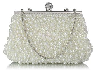Ślubna torebka w perełki - ecru