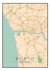 Porto mapa kolorowa - plakat wymiar do wyboru: 40x50 cm
