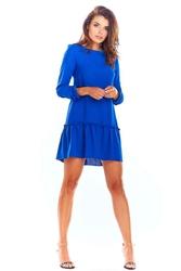 Niebieska Trapezowa Sukienka Mini z Rękawem 34