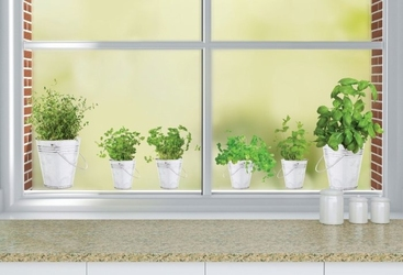 Statyczne naklejki na okno zioła w doniczkach okna
