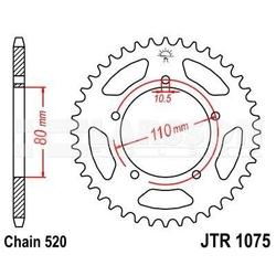 Zębatka tylna stalowa jt r1075-39, 39z, rozmiar 520 2302448 kymco venox 250